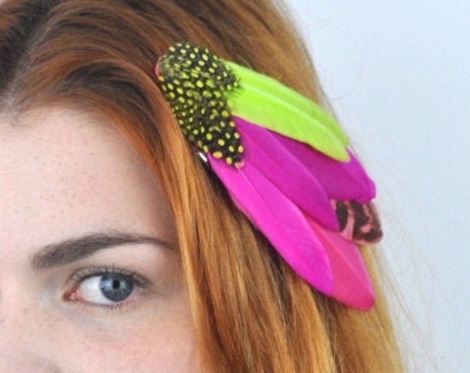 Tropical Bright Feather Hair Clip in Pink and Yellow