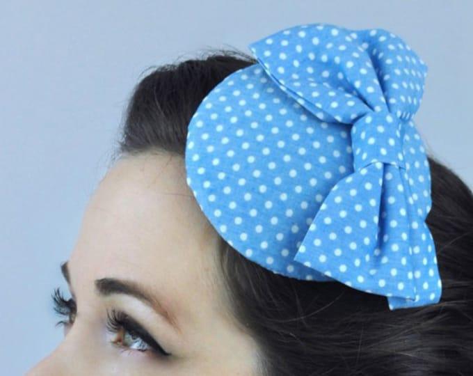 Retro 1950s Style Bow Fascinator in Polka Dot in Light Blue