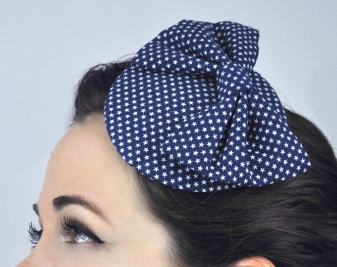 Retro 1950s Style  Bow Fascinator in Tiny Star Print in Navy Blue | Vintage Fascinator | Vintage Hat | Pin Up Style | Wedding Hat