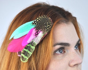 Bright Feather Hair Clip in Turquoise, Lime and Pink