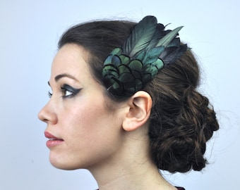 Feather Hair Clip in Glossy Green Black Natural Feathers
