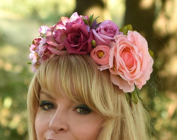 Priscilla - Pink Flower Crown Headband