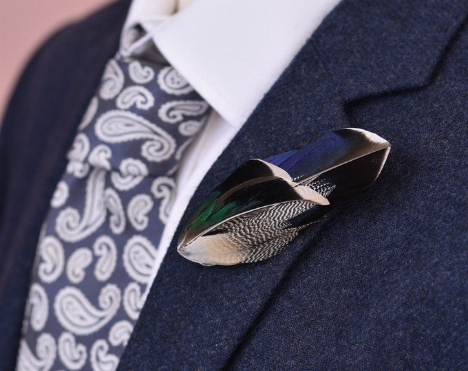 Duck Feather Lapel Pin in Iridescent Green and Blue