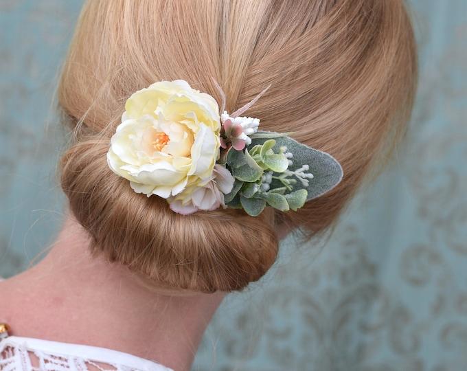 Ivory Peony Flower Hair Clip with Eucalyptus