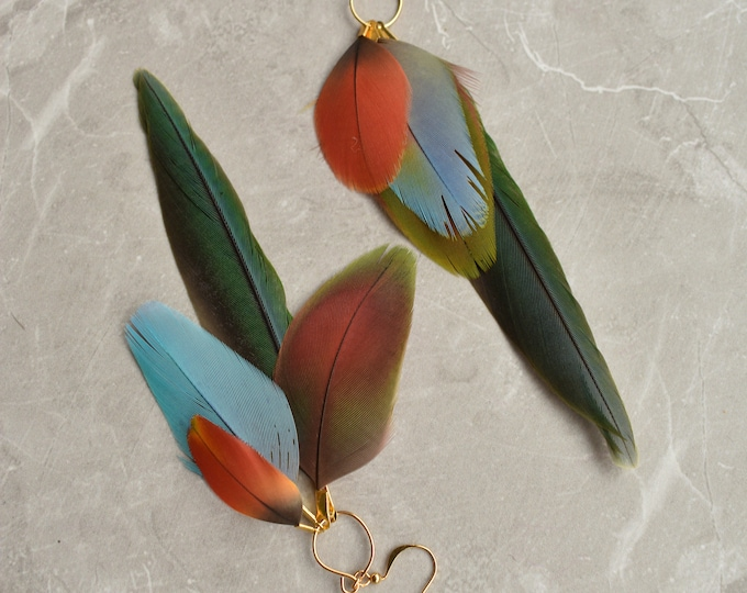 Tropical Feather Earrings No.14