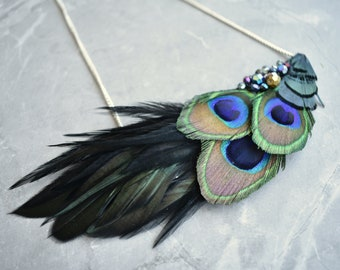 Peacock Feather Statement Bib Necklace