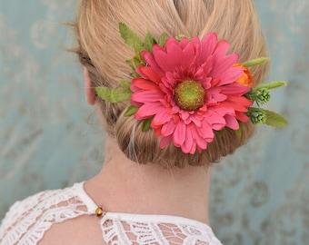Hot Pink Gerbera Flower Hair Clip Vibrant Greenery