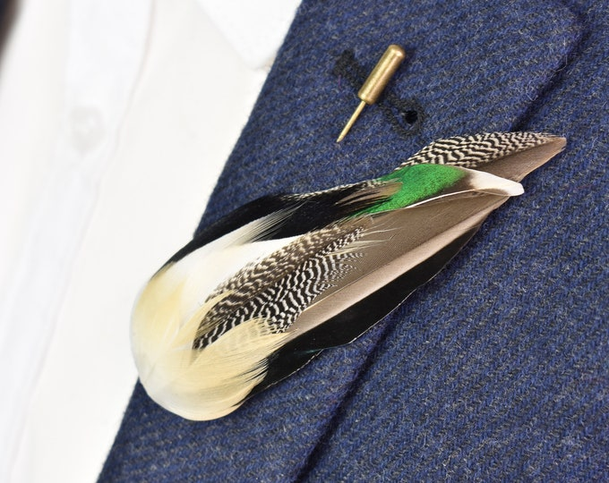 Teal Duck Feather Lapel Pin No.4