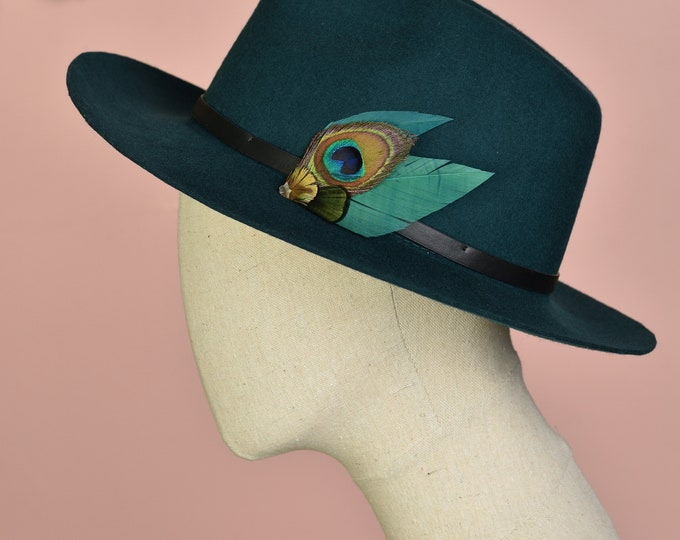 Teal, Green and Gold Peacock Feather Hat Pin Small No.63