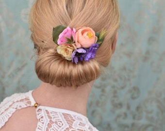 Silk Flower Hair Clip in Pastel Pink, Peach and Lilac