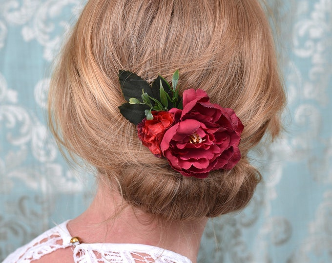 Red Peony Flower Hair Clip