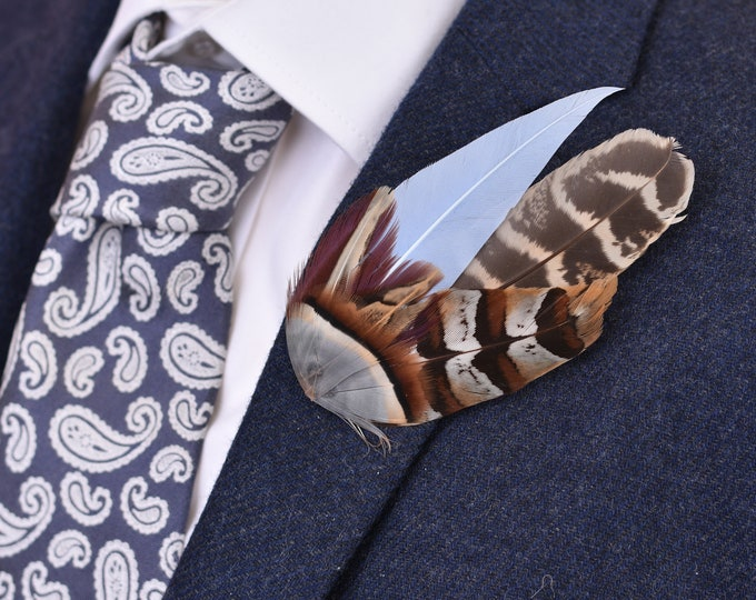 Soft Blue and Copper Pheasant Feather Lapel Pin