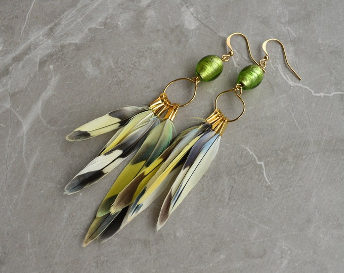 Yellow, Green and Blue Tropical Feather Earrings No.10