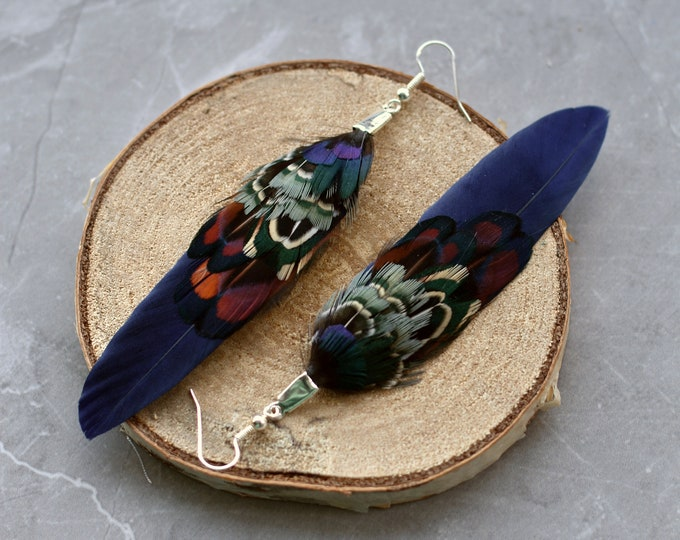 Navy Blue Pheasant Feather Earrings