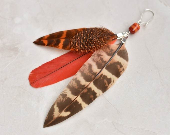 Single Statement Feather Tassel Earring in Red and Orange No.015
