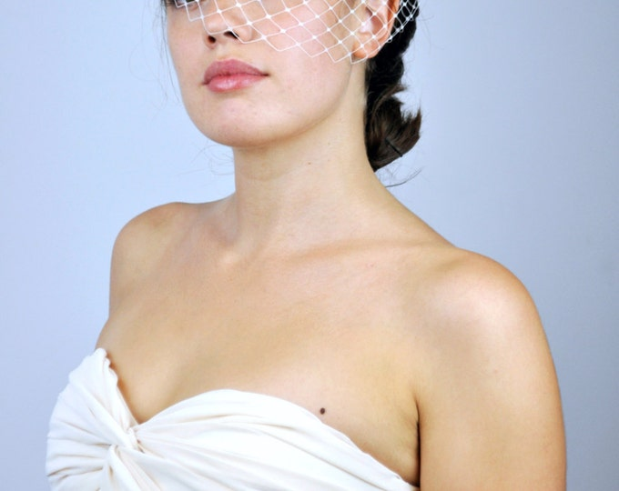 Ivory Bird Cage Veil in French Netting Half Face