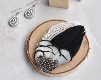 Feather Hair Clip Fascinator in Black and White