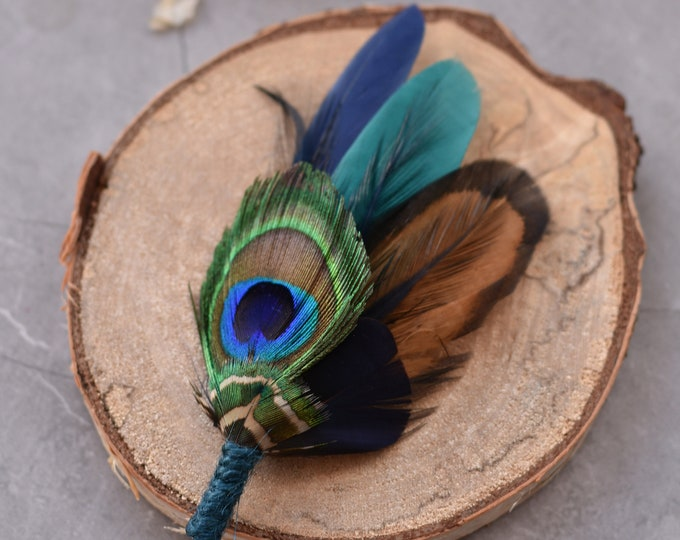 Teal and Peacock Feather Hat Pin / Lapel Pin Small No.135