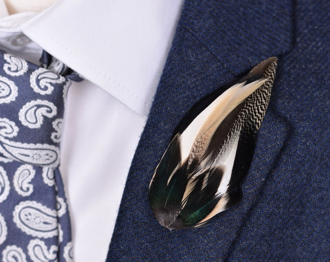Ivory and Black Duck Feather Lapel Pin Small No.87