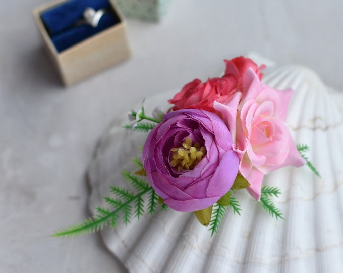 Pink and Lilac Silk Flower Hair Clip