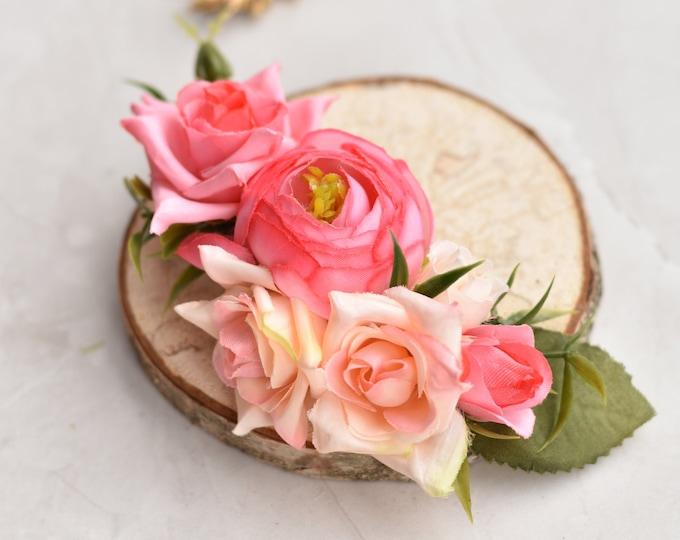 Silk Flower Hair Clip in Pink Roses and Ranunculus