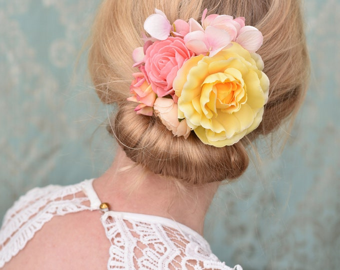 Flower Hair Clip in Pink and Yellow Rose and Hydrangea