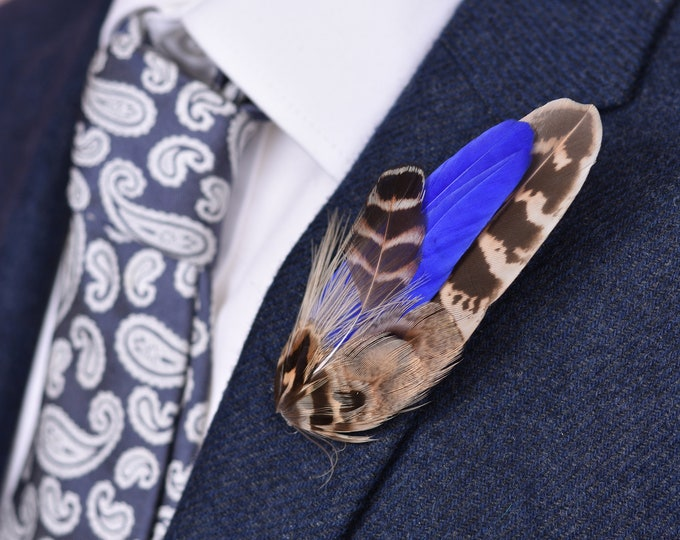 Royal Blue and Pheasant Feather Lapel Pin Small No.73