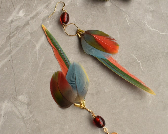 Tropical Feather Earrings No.16