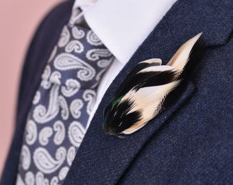 Teal Duck Feather Lapel Pin