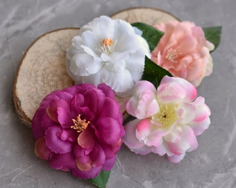 Camelia Rose Flower Hair Clip in White or Pink
