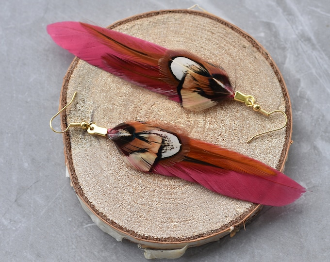 Burgundy and Pheasant Feather Earrings
