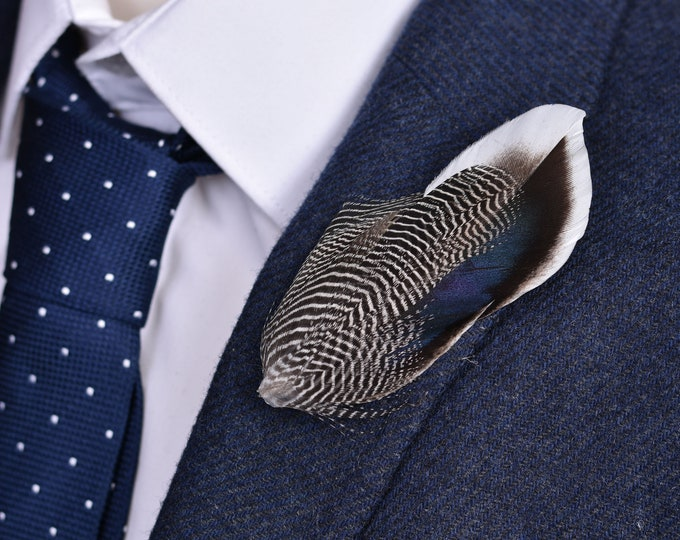 Duck Feather Lapel Pin in Navy Blue and Stripes No.108