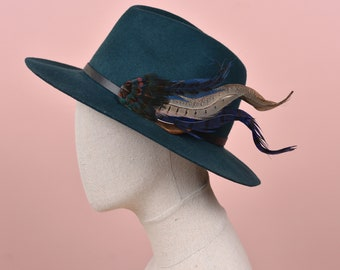XL Navy Blue Pheasant Feather Hat Pin No.215