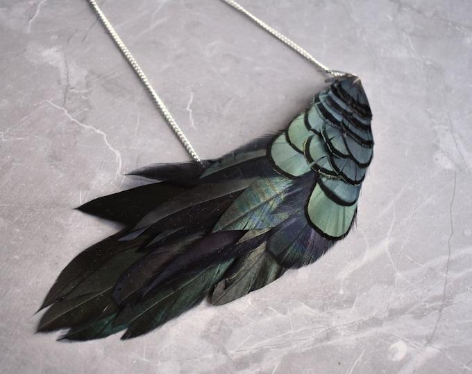 Black Green Feather Statement Bib Necklace