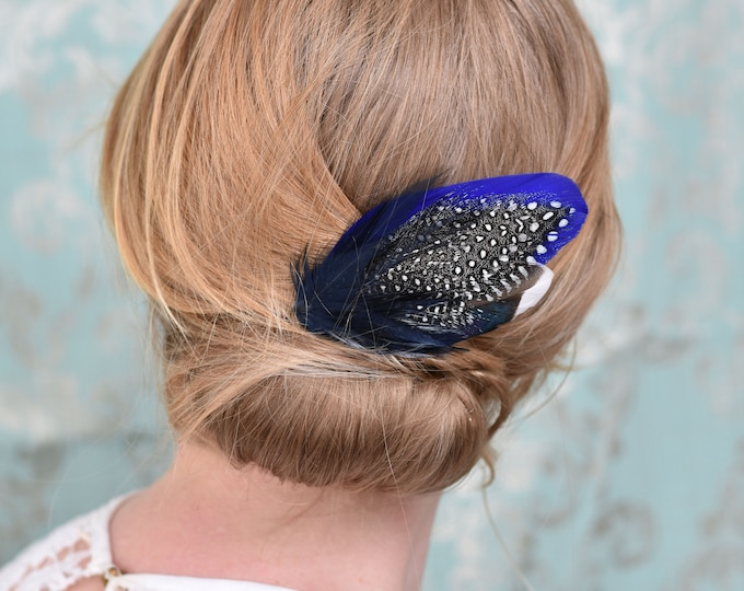 Blue Duck Feather Hair Clip No.19