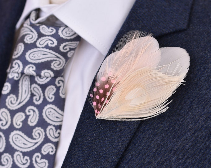 Blush Pink Feather Lapel Pin Brooch