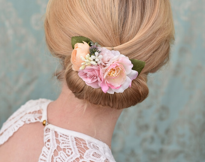Peony and Rose Hair Clip in Pink and Peach