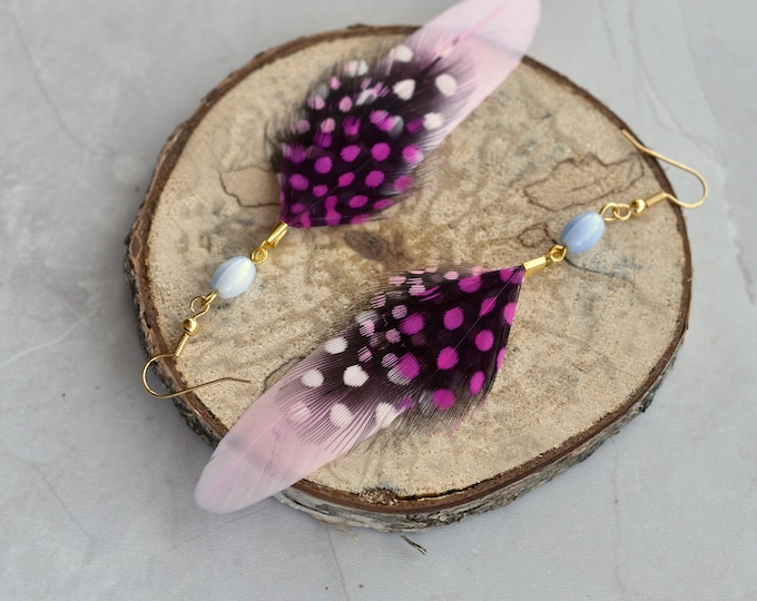 Pink Feather Earrings with Polka Dots No.2
