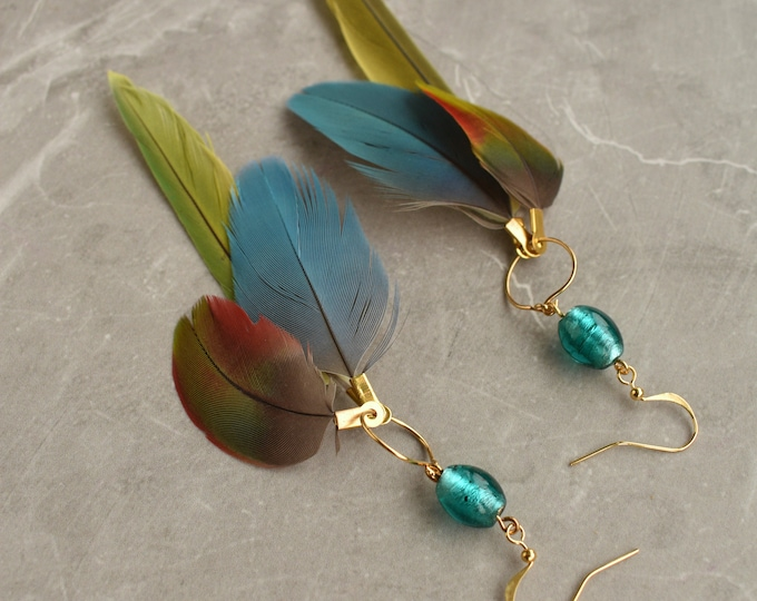 Tropical Feather Earrings No.17