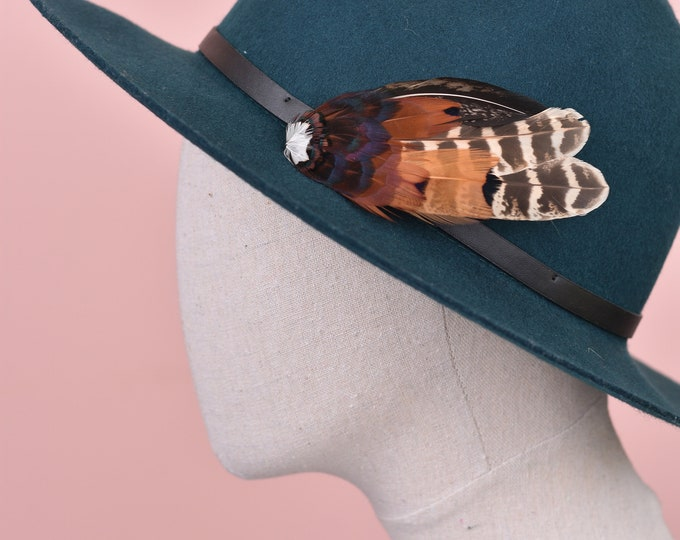 Natural Pheasant Feather Lapel Pin in Copper No.9