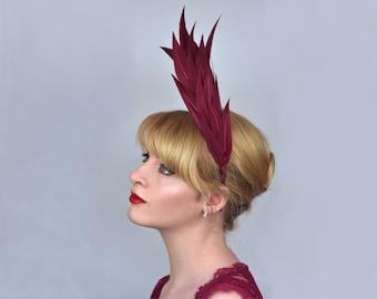 Sculptural Crimson Feather Headband