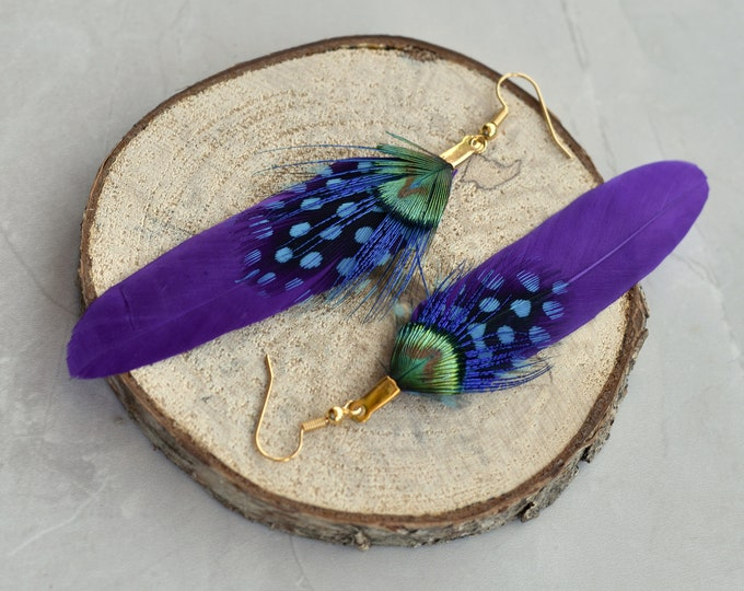 Purple, Turquoise and Gold Feather Earrings