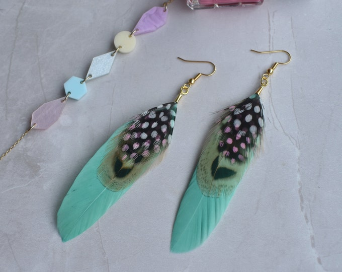 Pastel Mint Feather Earrings with Polka Dots