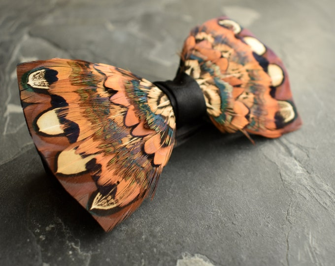 Copper and Rich Brown Pheasant Feather Bow Tie