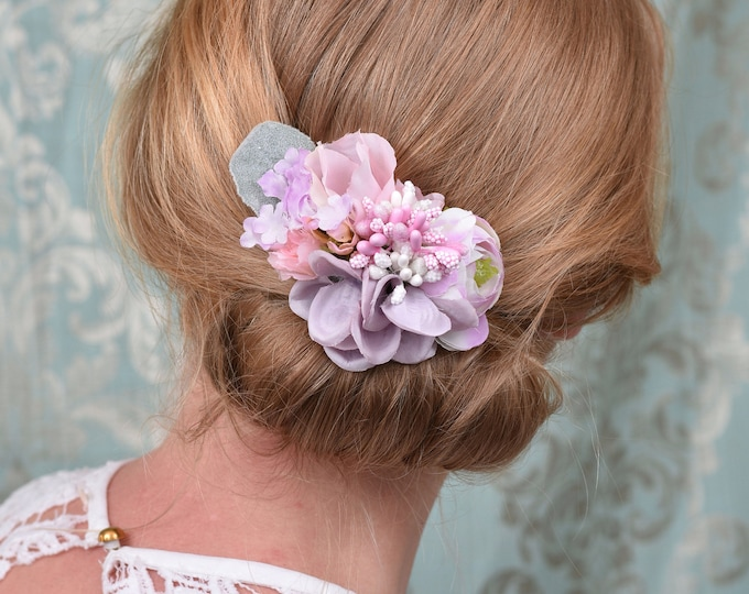 Flower Hair Clip in Lavender Pink and White