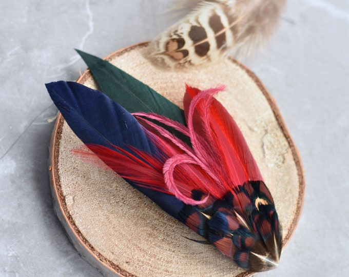 Burgundy, Navy and Green Feather Hat Pin / Lapel Pin No.163