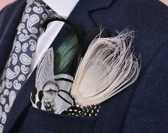Monochrome Peacock Feather Pocket Square No.17