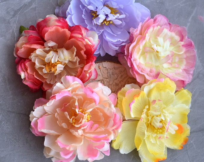 Peony Hair Clip in Pink, Yellow, Lilac or Red