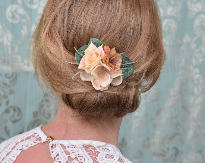 Rose Flower Hair Clip in Peach and Ivory