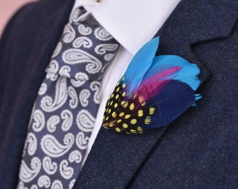 Small Blue, Pink and Yellow Feather Hat Pin No.52